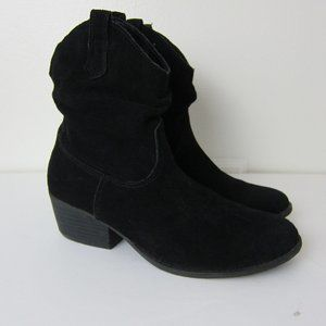 White Mountain Black Suede Cowboy Booties 8M